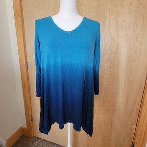 Sunday Dress Barn Ombre Cold Shoulder Tunic, Small